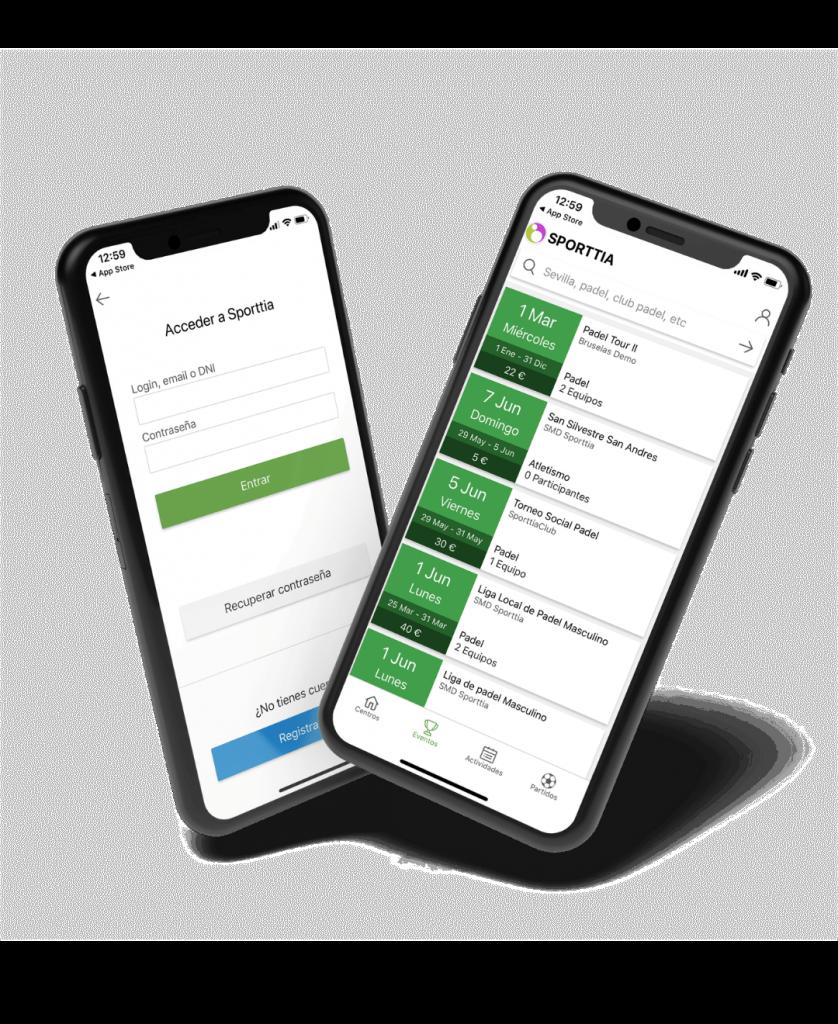 Mockup de móvil con la aplicacion para reservar pistas de pádel